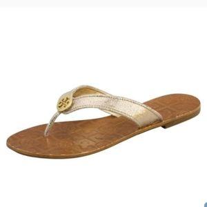 Tory Burch Thora Metallic Gold Thong Sandals